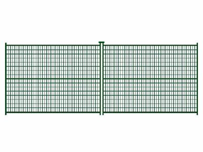 There are two panels of Canada temporary fences with green coated.