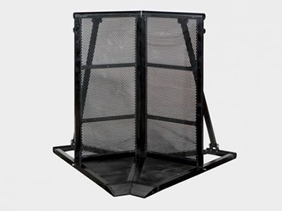 There is a black-coated stage barrier with angular panel.