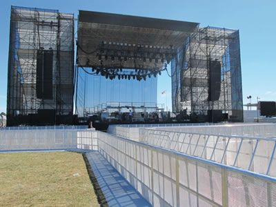 Concerts barriers are placed in front of the stage.